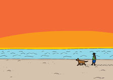 Walking Dog at Beach Sunset Royalty Free Stock Photos