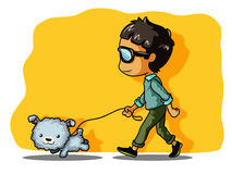 Walking with dog. Come out and relax with my dog Royalty Free Illustration