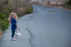 Walking the dog. Little girl on a walk with her dog Stock Photography