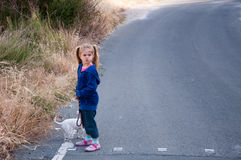 Walking the dog. Little girl on a walk with her dog Stock Image