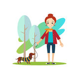 Walking a Dog. Daily Routine Activities of Women Stock Images