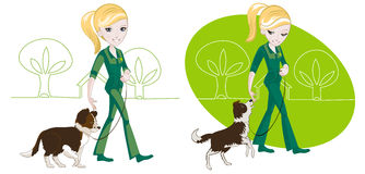 Walking the dog. Two illustrations on the subject of dog training: the girl is his dog on a leash Royalty Free Stock Photography
