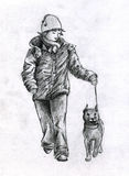 Walking with dog in winter. Girl walking with dog on the leash. She wears a warm jacket, skarf and a hat. Both dog and girl are happy. Pencil drawing, sketch Stock Photo