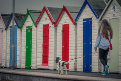 Walking the dog. Young girl walking her dog along the path with beach huts on the Paignton coastline, Devon, UK royalty free stock photo