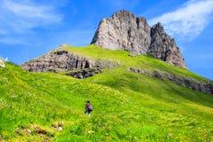 Walking in Dolomites paths, Italy. Europe Stock Image