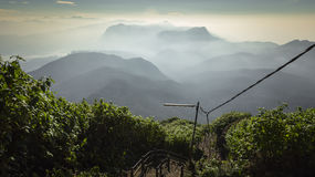 Walking down Adam`s Peak on Sri Lanka.  Royalty Free Stock Images