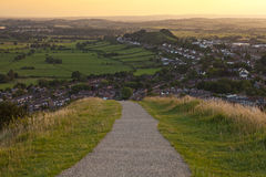 Walking down from the Glastonbury Tor at Sunset Stock Photography