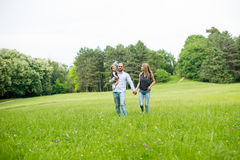 Walking down the meadow royalty free stock photo