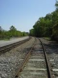 Walking down rail track Stock Photos