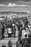 Walking on Dun Laoghaire Harbour - Co Dublin Royalty Free Stock Photo