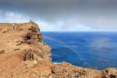 Walking on the edge Madeira royalty free stock photography
