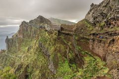 Walking on the edge in the mountains of Madeira stock photos