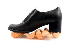 Walking on egg shells Royalty Free Stock Photo