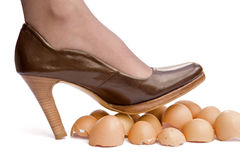 Walking on eggshells. Business sayings, walking on eggshells royalty free stock image