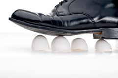 Walking on eggshells Stock Photography