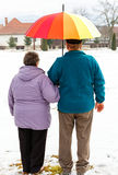 Walking elderly couple. In the park in wintertime Royalty Free Stock Images