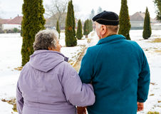 Walking elderly couple. In the park in wintertime Stock Photography
