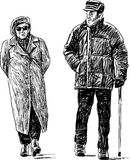 Walking elderly couple Royalty Free Stock Photography