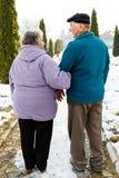 Walking elderly couple royalty free stock photo