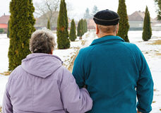 Walking elderly couple. In the park in wintertime Royalty Free Stock Photography
