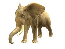 Walking elephant. 3D rendered isolated walking elephant Stock Photography