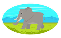 Walking Elephant. Cute cartoon elephant is walking on a grass, with mountains view in the background. Eps10 Stock Photography