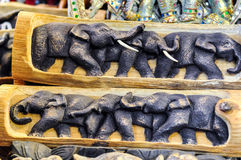 Walking Elephant Sculpture. In Wooden Frame For Home Decoration Stock Photography