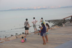 Walking the family in Shenzhen Bay Park Royalty Free Stock Photography