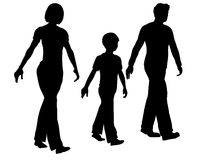 Walking family silhouette. Vector walking family black silhouette Stock Photos