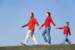 Walking family with son 2 Royalty Free Stock Photo