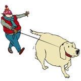 Walking & fat dog. Man with hat walking fat dog Vector Illustration