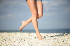 Walking Female Feet Royalty Free Stock Images