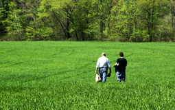 Walking in the Field. Father and son walking in a green field stock photos