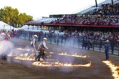 Walking on fire stock image