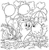 Walking fish family. Black-and-white illustration (coloring page): fish family on a hike Royalty Free Stock Photos