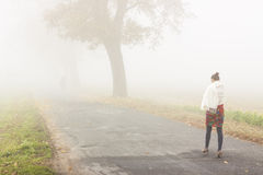 Walking in foggy day - Poland. Stock Photos
