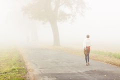Walking in foggy day - Poland. Royalty Free Stock Photos