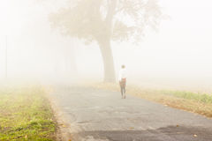 Walking in foggy day - Poland. Royalty Free Stock Photo