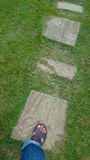 Walking on the footpath. Concrete plate and grass field Royalty Free Stock Photo