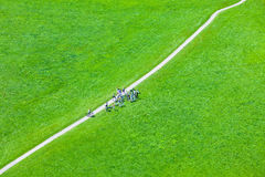 Walking footpath in green field Royalty Free Stock Photography