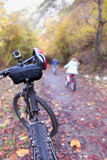 Walking the forest. Walking the forest on a bicycle in autumn Royalty Free Stock Images