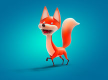 Walking fox, cartoon character 3D illustration Royalty Free Stock Photography