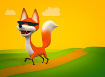 Walking fox, cartoon character 3D illustration Stock Image