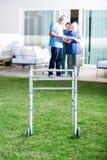 Walking Frame On Lawn At Nursing Home Stock Photo