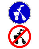 Walking frame traffic signs Stock Photo