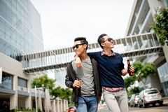 Walking friends Stock Images