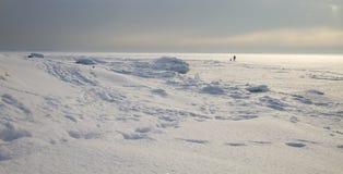 Walking on frozen ice stock photo