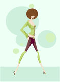 Walking funky girl. Cute illustration of a girl in brown and green Royalty Free Stock Photo
