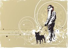 Walking girl with her dog royalty free illustration
