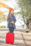 Walking girl with luggage Stock Images